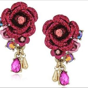 Betsey Johnson Roses Pink Flower & Stone Earrings